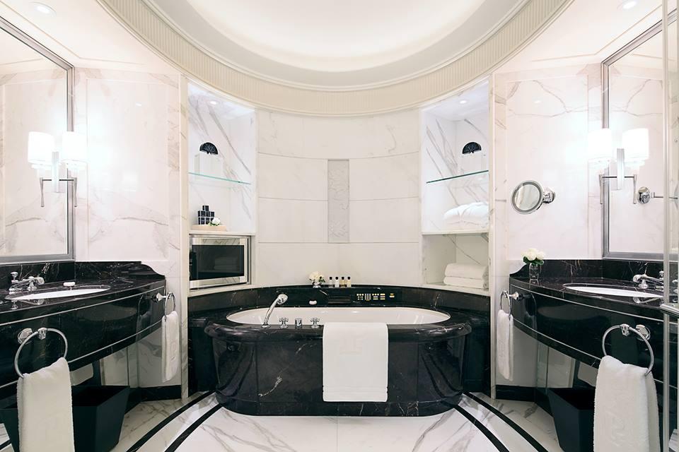 A marble clad bathroom.