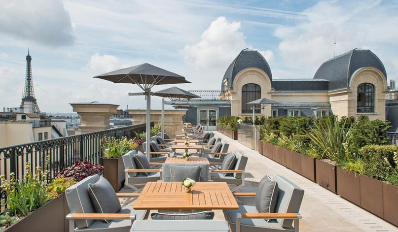 The rooftop L'Oiseau Blanc restaurant offers views of the Eiffel Tower.