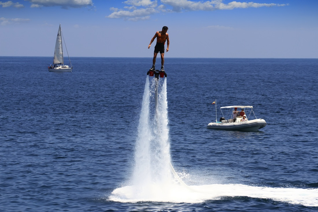Flyboarding lets riders hover above water or dive headlong.