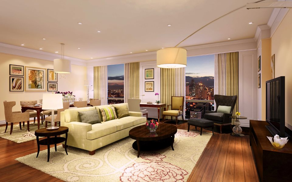 The living area of a Raffles suite.