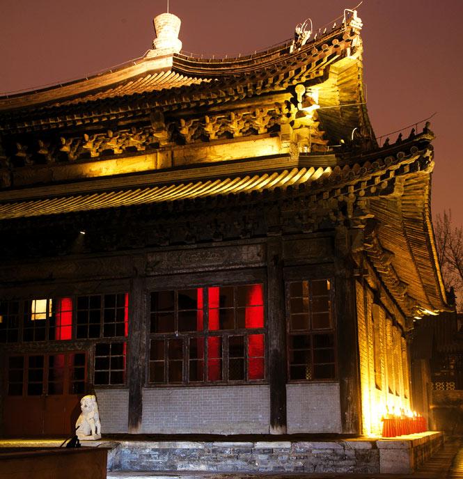 The main temple hall at dusk.