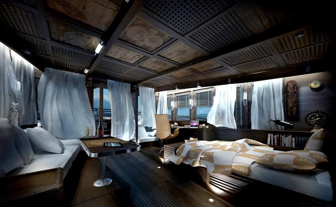 The master cabin's bedroom.