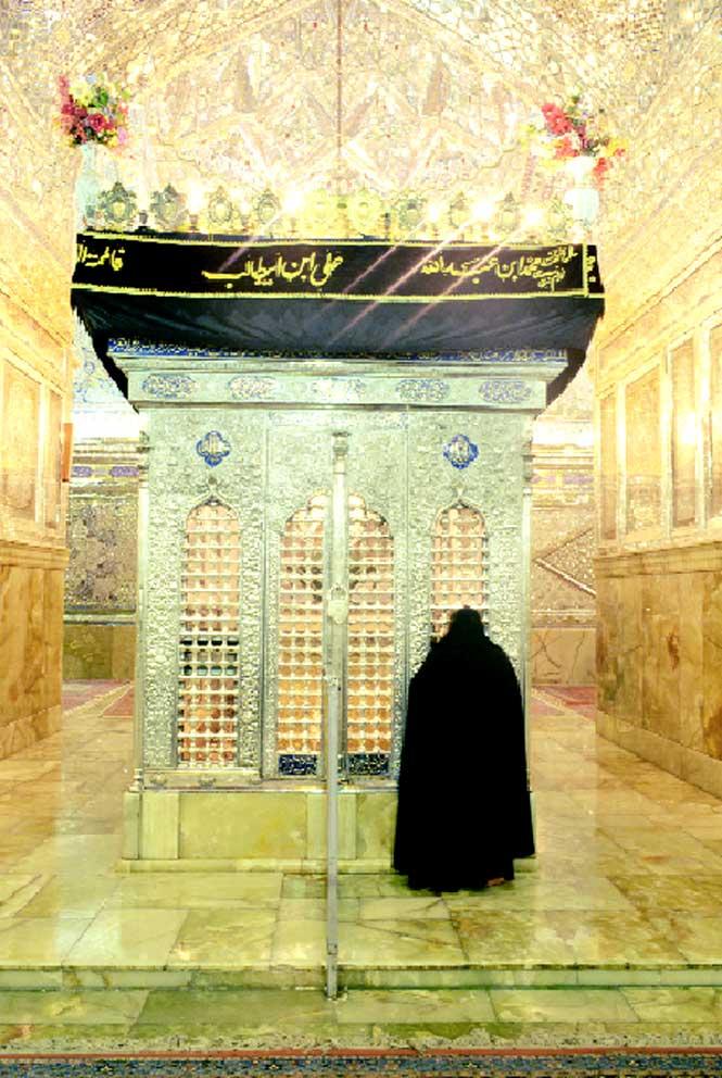 The mirrored, silver-tiled shrine room inside the mausoleum of Shah-e Cheragh.