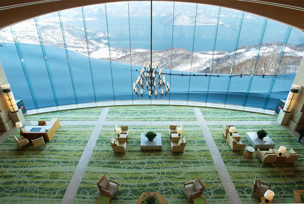 The Windsor Hotel Toya's lakeside lobby.