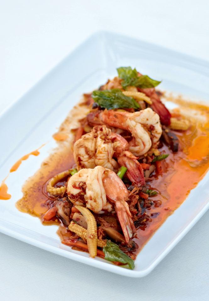 Tiger prawns in XO sauce at Putahracsa's Oceanside restaurant.