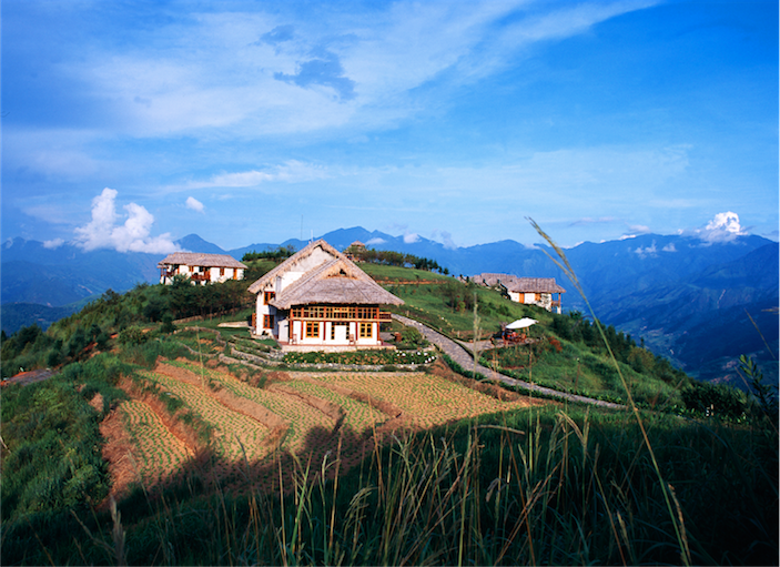 The Topas Ecolodge features sweeping views of the Sapa highlands.