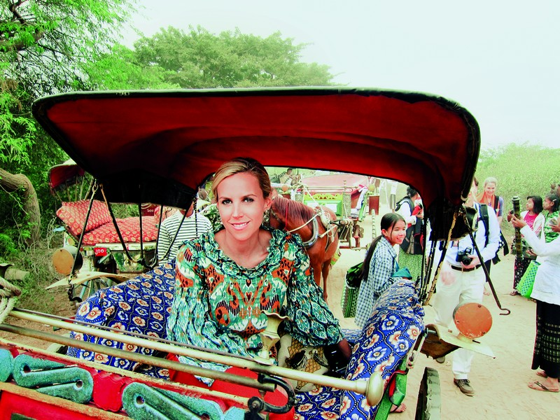 Tory Burch in a traditional Burmese rickshaw en route to Ngapali Beach.