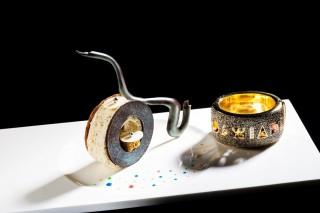 A chocolate dessert mimics a bracelet from the 1980s.