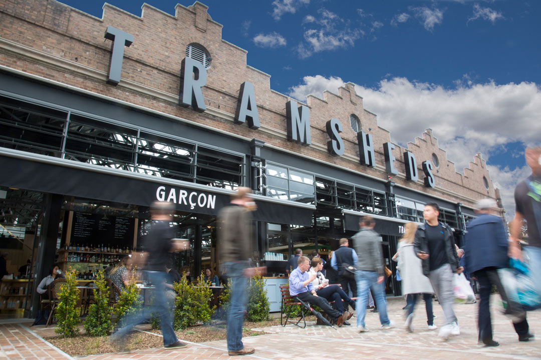The newly restored Tramsheds now boasts more than a dozen eateries and bars.