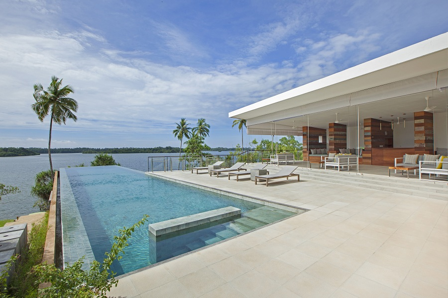 The main cantilevered pool by the lounge area. Three villas come with private pools as well.