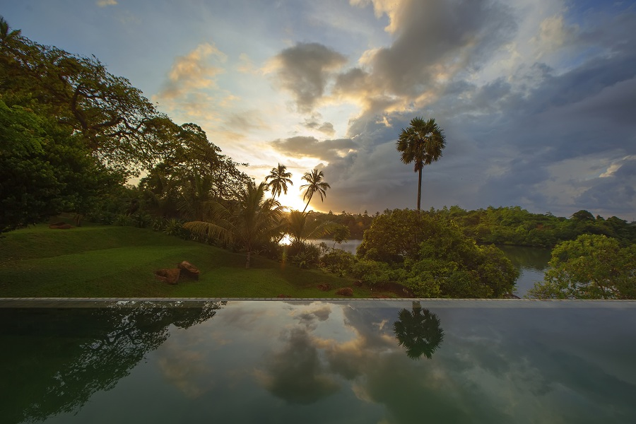 Sunset by the infinity pool.
