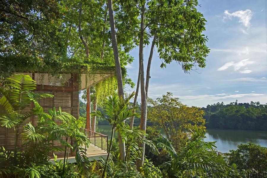 Green roofs help keep villas naturally cool.