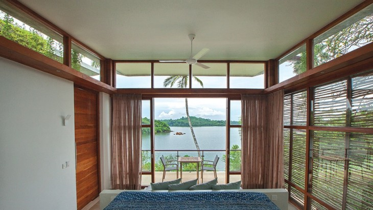 Each villa has breathtaking views out over Koggala Lake