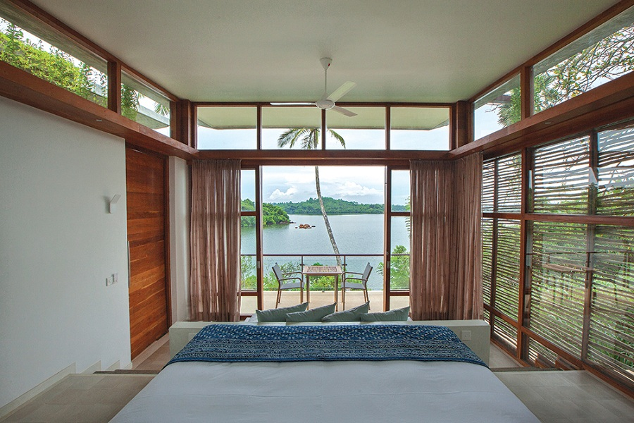 Each villa has breathtaking views out over Koggala Lake