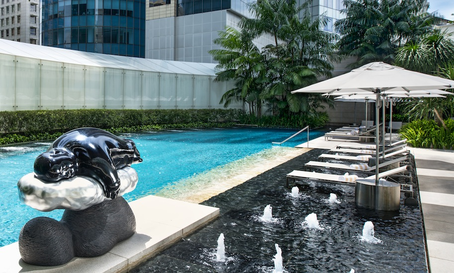 The deck of the Tropical Spa Pool also serves as a stage for sculpture art from Singaporean artist Han Sai Por and Taiwanese artist Li Chen, whose work is pictured here.