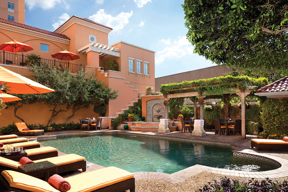 The pool patio at the Rosewood Turtle Creek.