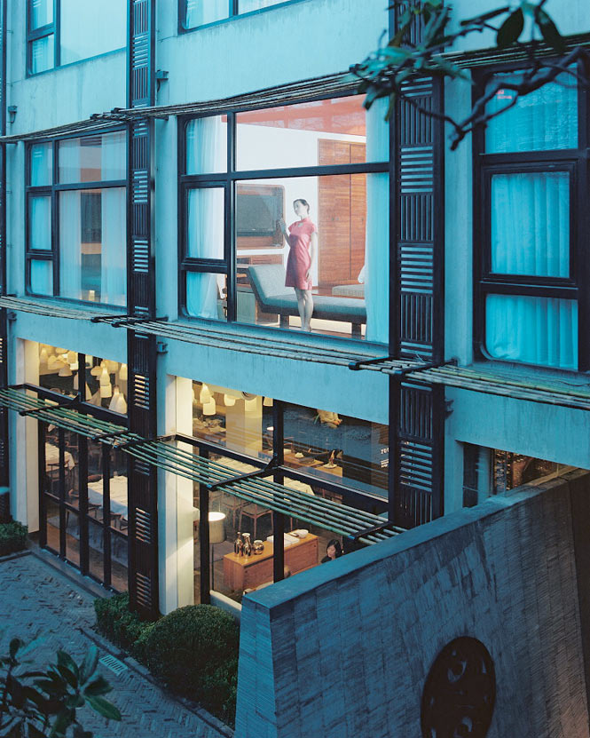 Looking out onto URBN hotel's courtyard garden.