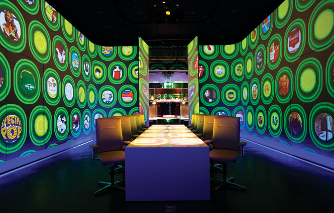 Ultraviolet's single-table dining room in pop-art mode.