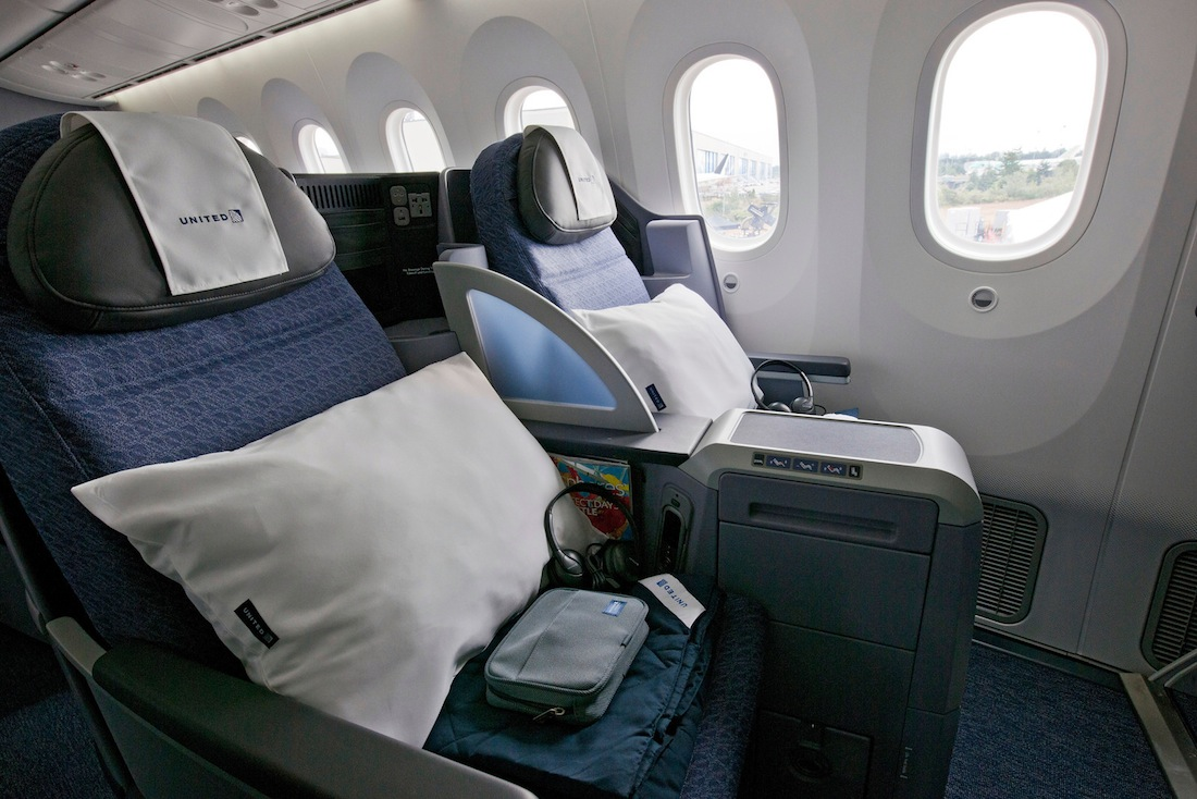 Business class aboard the airline's new Boeing 787 Dreamliner.