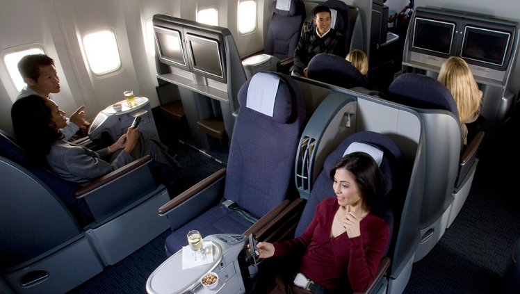 The Business Class of a United 777 aircraft.