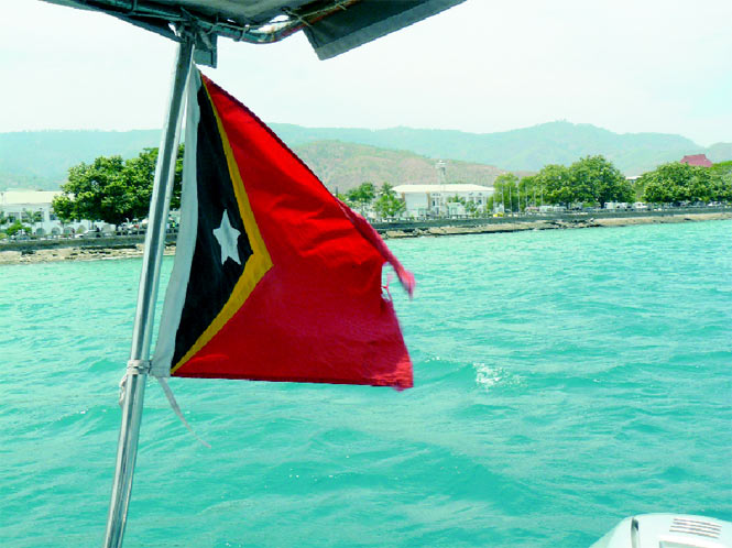Cruising out of Dili's harbor on a speedboat bound for Atauro.