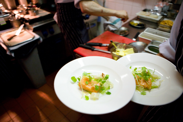 The salmon and watercress dish.
