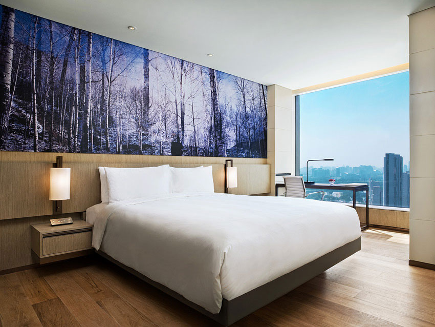 The clean-lined minimal rooms at the East Beijing.