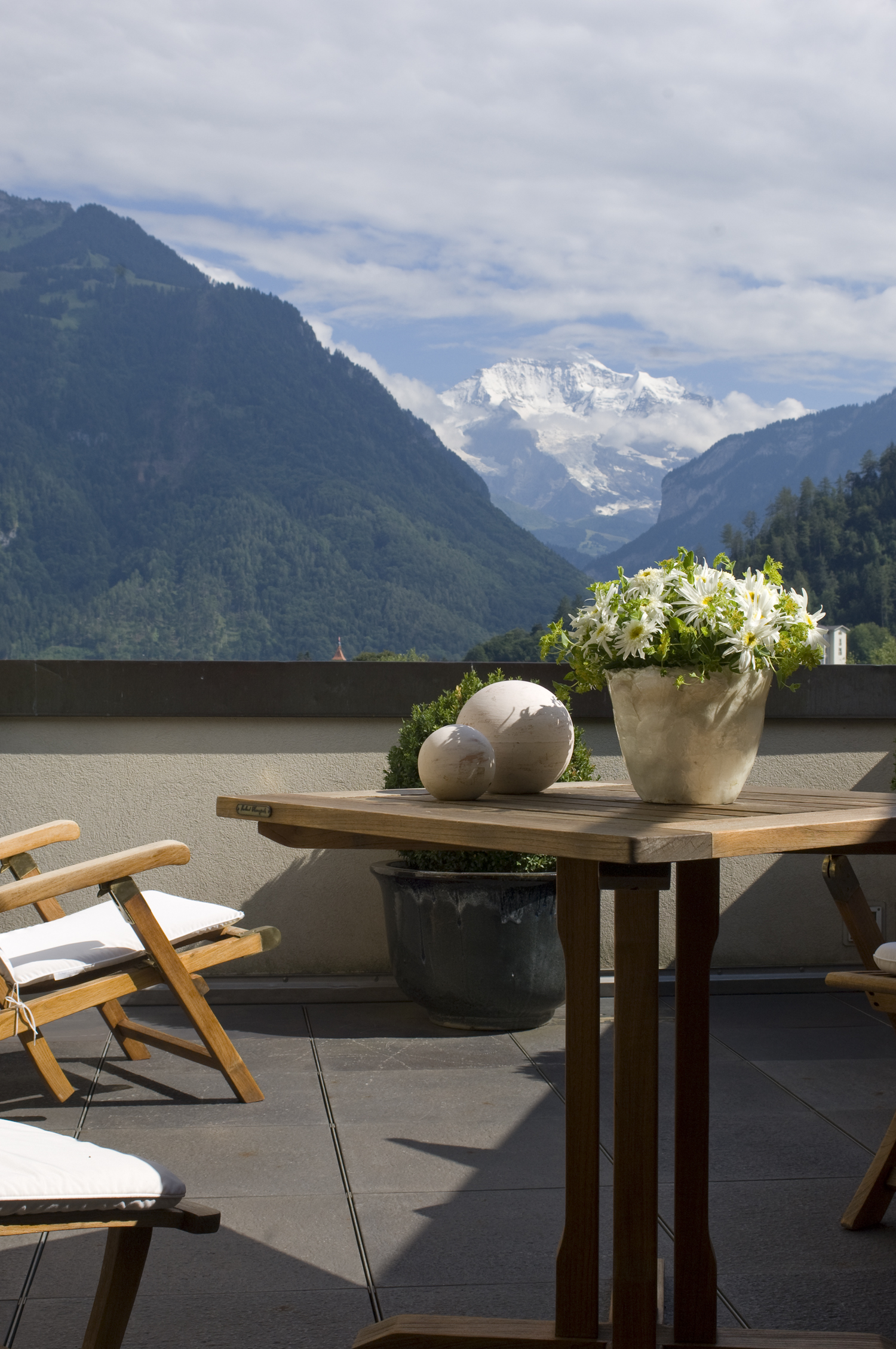 A view of the Junfrau from a terrace at the Victoria-Jungfrau.