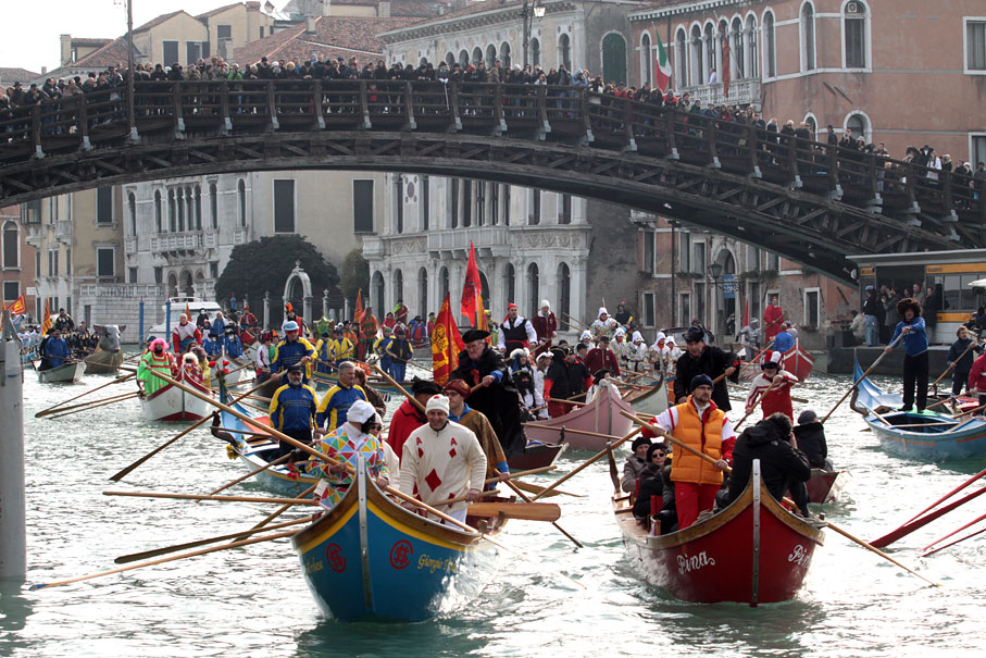 One of the most anticipated events during the Venice Carnival is the boat parade.