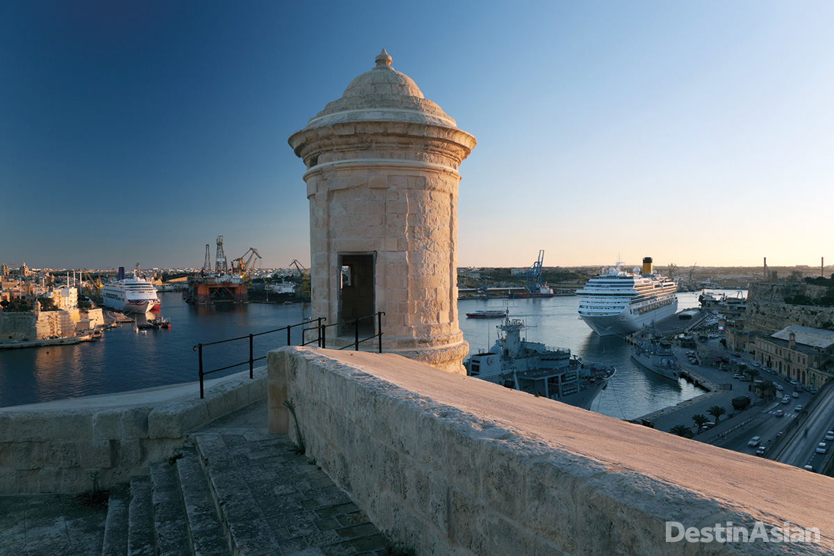 A sentry post on Valletta's fortifications, overlooking Grand Harbour.