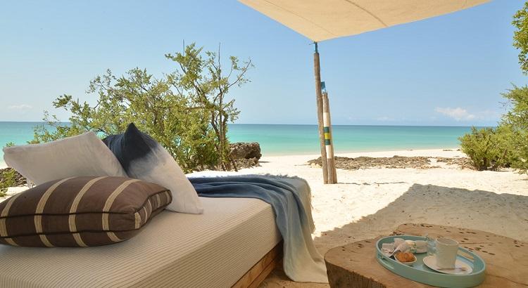 A beach gazebo, part of the island's Casa Marjani private villa.