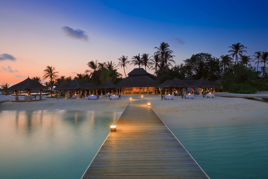 SLH resort Velassaru Maldives resides on a private palm-fringed island.