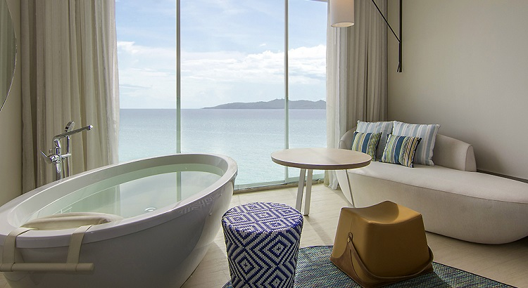 A bathtub in the living area at the resort's Ocean Front room.