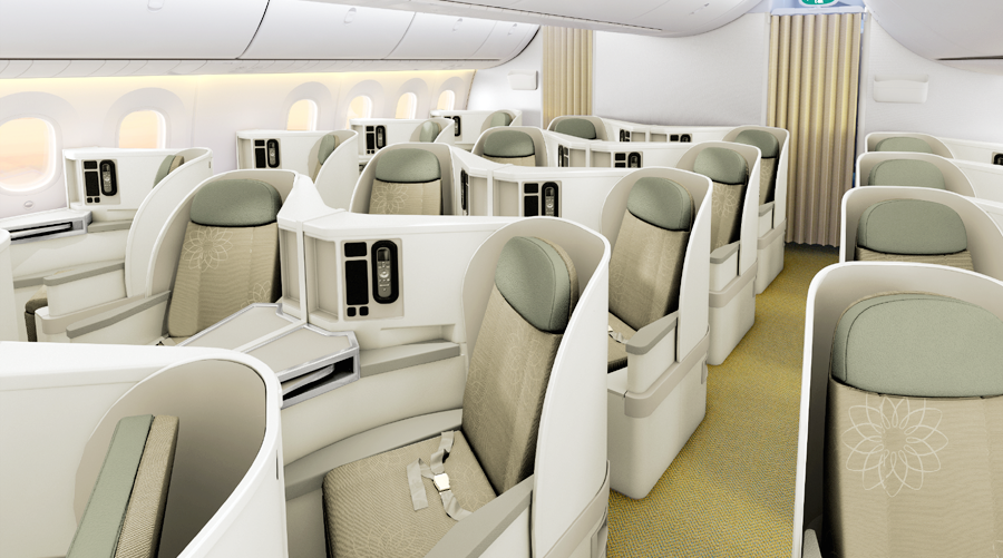 The new aircraft features 28 seats in business class.
