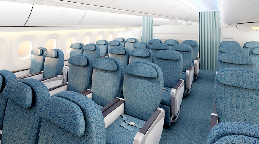 Vietnam Airlines' Dreamliners feature a deluxe economy cabin with a 2-3-2 configuration.