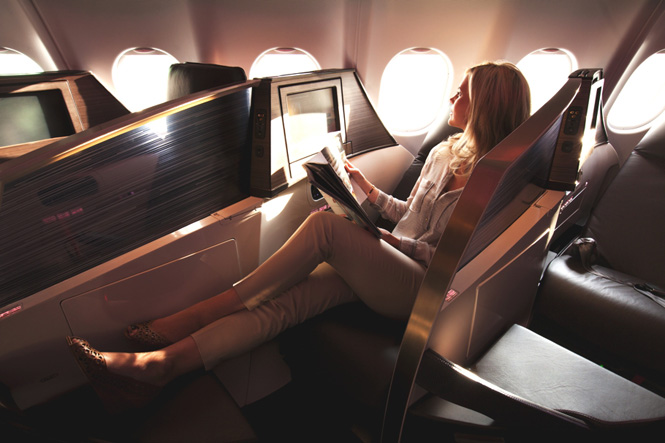Passengers can connect tablet and mobile devices to the airline's new entertainment system.