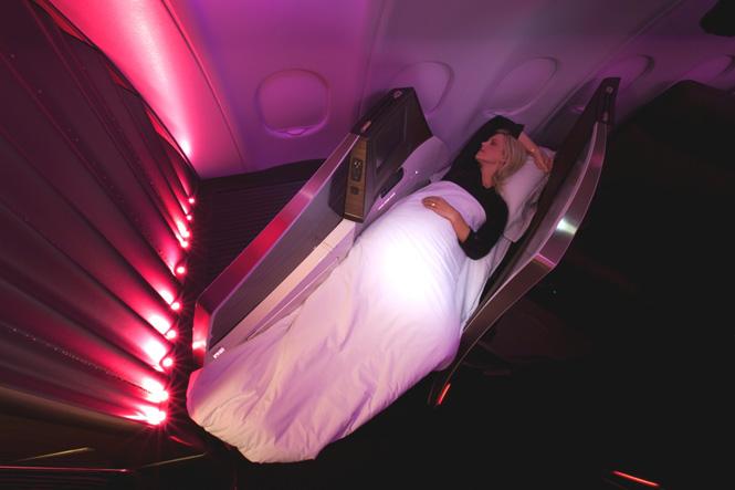 Enjoy your onesie in a Virgin Atlantic Upper Class Suite.