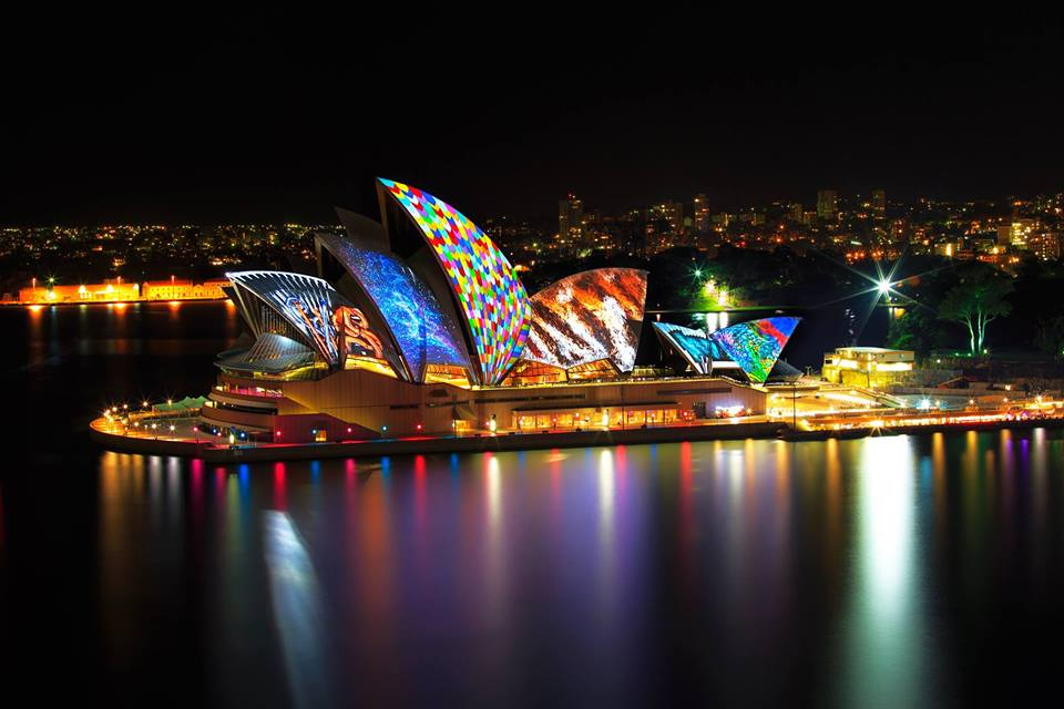 Lighting of the Sails sees the facade of the Sydney Opera House come to life with colorful video mapping. (Photo: Destination NSW).