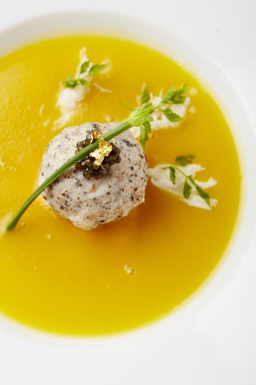 Known as The Pearl, the dish features pumpkin bisque with black truffle and crab-shrimp paste.