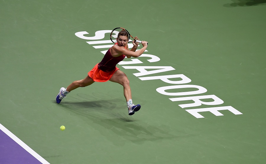 Simona Halep competing at the BNP Paribas WTA Finals Singapore at the Singapore Indoor Stadium at the end of October 2015.
