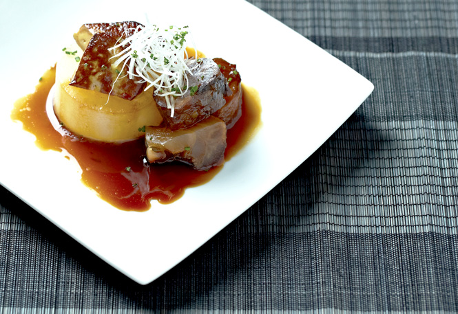 Fat Cow's ox tendon with foie gras and braised daikon.