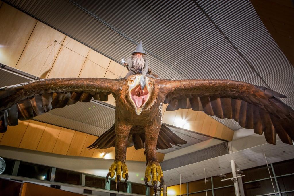 Gandalf flying high in Wellington International Airport.