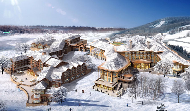 A rendering of the Westin Changbaishan resort.