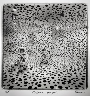 Yayoi Kusama inside her Mirror Room (Pumpkin) installation at Tokyo's Hara Museum of Contemporary Art, as photographed in 1992 by Shigeo Anzai.