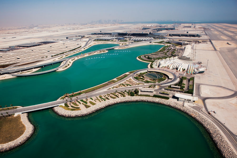 An aerial view of the new Doha International Airport.