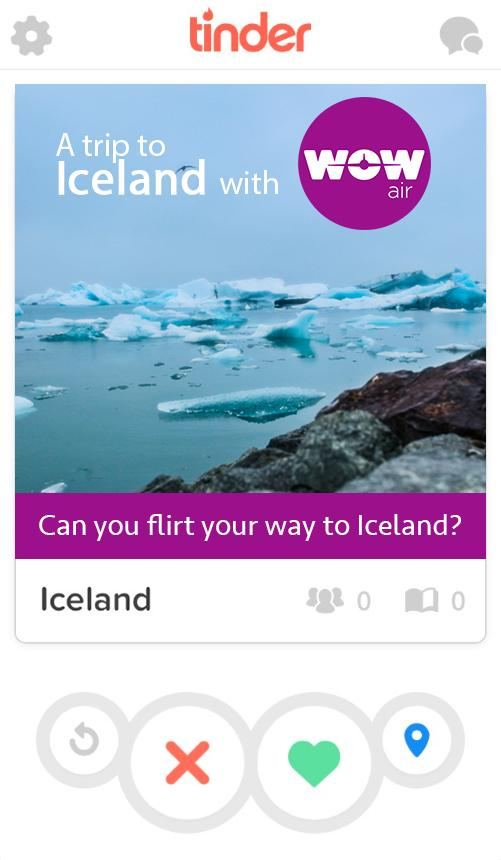 WOW Air's profile on Tinder.