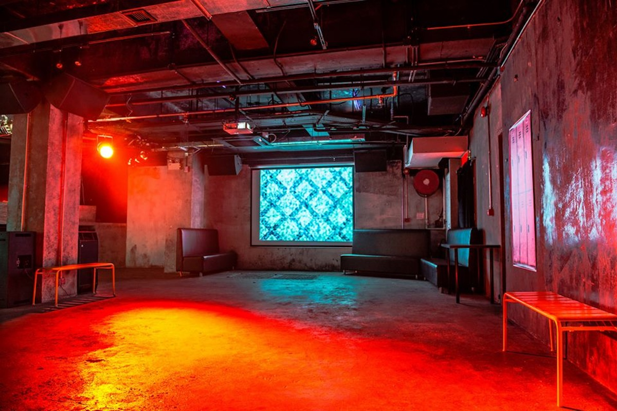 The interior of XXX, a multi-use space that doubles as a gallery and a nightclub.