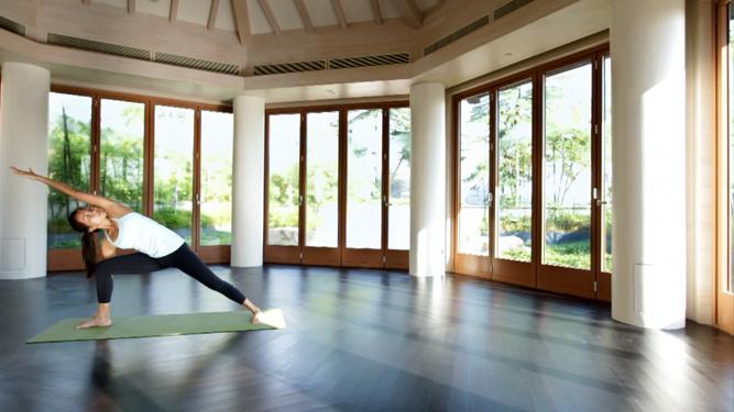 The glass-encased yoga studio.