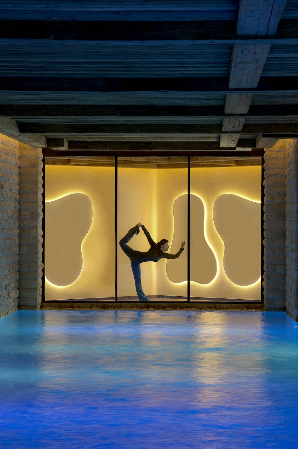 Striking a yoga pose at the Six Senses Spa in Gstaad. Photo by Six Senses.