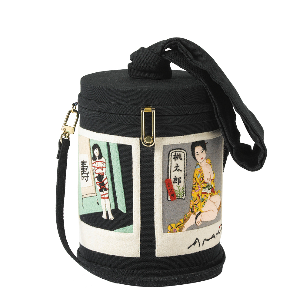 A bucket bag inspired by Polaroids from artist Nobyushi Araki.